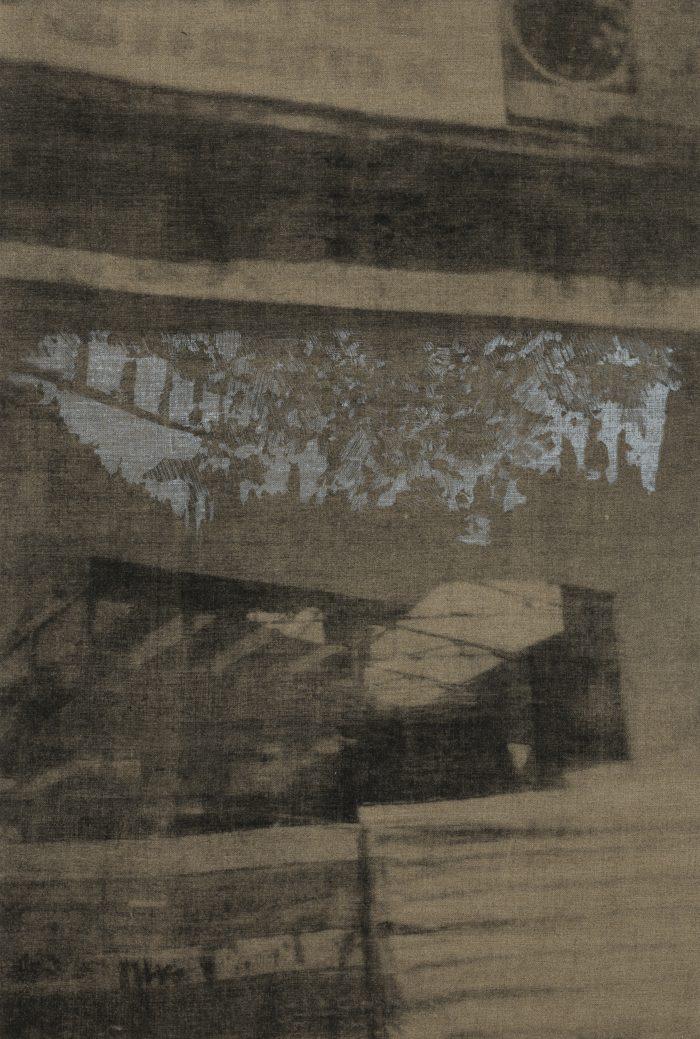 "Eirene Efstathiou, ""Flora Over Asklipiou"", 2017-19, lithograph and screen print on linen 81 x 54 cm"